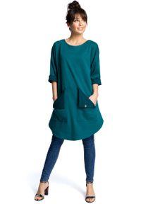 Zielona sukienka MOE na co dzień, casualowa, prosta