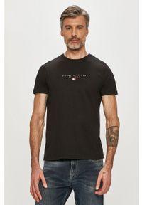 Czarny t-shirt TOMMY HILFIGER z nadrukiem, na co dzień, casualowy