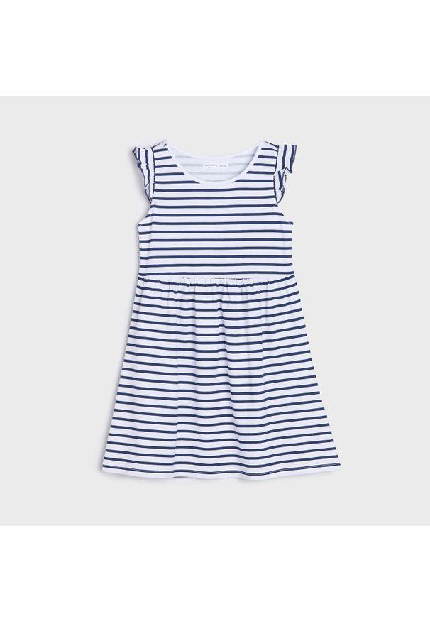 Sinsay - Sukienka w paski - Biały. Kolor: biały. Wzór: paski