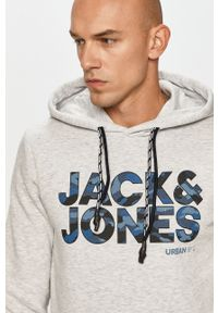 Szara bluza nierozpinana Jack & Jones casualowa, z kapturem