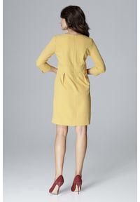 Lenitif - Elegancka sukienka z podwyższoną talią dekolt V żółta. Okazja: do pracy. Kolor: żółty. Styl: elegancki