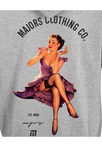 MAJORS - Szara bluza z nadrukiem GRL. Kolor: szary. Wzór: nadruk