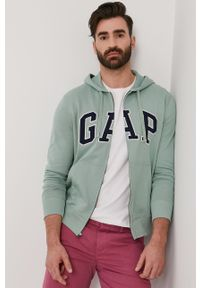 Zielona bluza rozpinana GAP z aplikacjami, casualowa, na co dzień