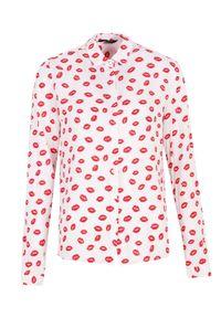 Biała koszula TOP SECRET klasyczna, w kolorowe wzory, z klasycznym kołnierzykiem, długa