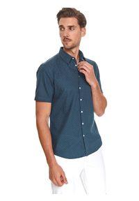 TOP SECRET - Koszula z lnem. Typ kołnierza: kołnierzyk klasyczny. Kolor: niebieski. Materiał: len. Długość rękawa: krótki rękaw. Długość: krótkie. Wzór: kropki. Sezon: lato. Styl: klasyczny #1