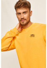 Żółta bluza nierozpinana Guess Jeans z okrągłym kołnierzem, z aplikacjami, na co dzień