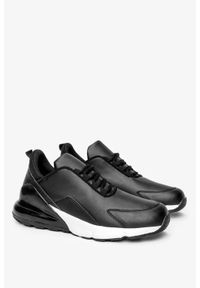 Casu - Czarne buty sportowe sneakersy sznurowane casu d26-1. Kolor: czarny