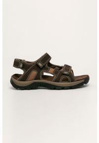 Brązowe sandały CATerpillar na obcasie, na rzepy, na średnim obcasie