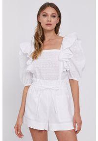 Biała bluzka Miss Sixty krótka, z dekoltem karo, w ażurowe wzory