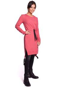 MOE - Koralowa Casualowa Sukienka w Stylu Bluzy. Okazja: na co dzień. Kolor: pomarańczowy. Materiał: elastan, bawełna. Styl: casual