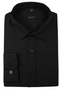 Czarna elegancka koszula Grzegorz Moda Męska z długim rękawem, długa, do pracy