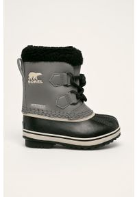 Szare buty zimowe sorel na zimę, z cholewką