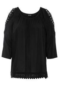 Czarna bluzka bonprix w koronkowe wzory