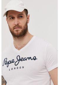 Pepe Jeans - T-shirt Original Stretch V. Kolor: biały. Materiał: dzianina. Wzór: nadruk