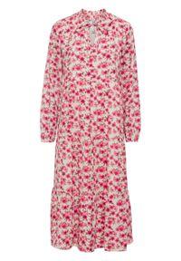 Szara sukienka bonprix w kwiaty, midi