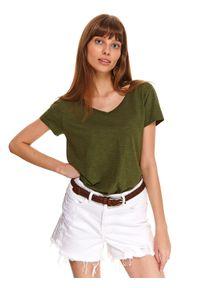Zielony t-shirt TOP SECRET z dekoltem w serek, z krótkim rękawem, krótki