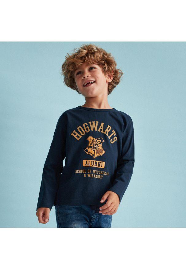 Reserved - Bawełniana koszulka Harry Potter - Granatowy. Kolor: niebieski. Materiał: bawełna