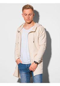 Ombre Clothing - Bluza męska rozpinana z kapturem B1189 - biała - XXL. Typ kołnierza: kaptur. Kolor: biały. Materiał: bawełna, dzianina, jeans, poliester. Długość: długie