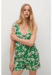 mango - Mango - Kombinezon Riviera. Okazja: na co dzień. Kolor: zielony. Materiał: włókno, tkanina. Długość rękawa: na ramiączkach. Styl: casual