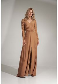 Beżowa sukienka Figl maxi