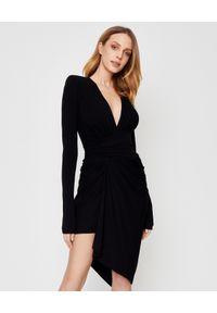 Czarna sukienka z długim rękawem, midi, na imprezę