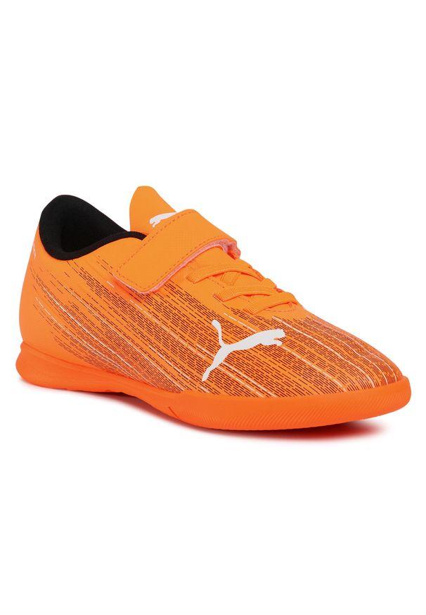 Pomarańczowe buty do piłki nożnej Puma na rzepy, z cholewką