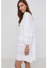 Victoria Victoria Beckham - Sukienka. Kolor: biały. Materiał: bawełna, tkanina. Wzór: gładki. Typ sukienki: rozkloszowane