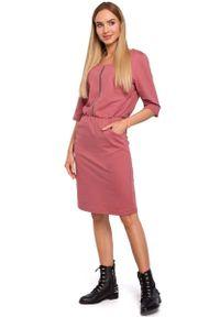 Różowa sukienka dzianinowa MOE prosta