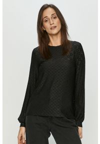 Czarna bluzka Jacqueline de Yong długa, z długim rękawem, w koronkowe wzory