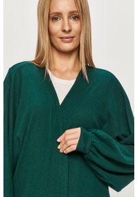 Zielony sweter rozpinany Noisy may z długim rękawem, długi