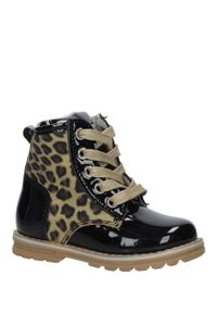 Czarne buty zimowe Casu z motywem zwierzęcym