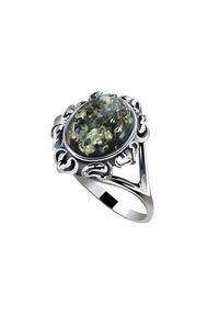 Pierścionek Polcarat Design srebrny, z bursztynem