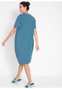 Sukienka bawełniana oversize, rękawy 1/2 bonprix niebieski dżins. Kolor: niebieski. Materiał: bawełna. Typ sukienki: oversize
