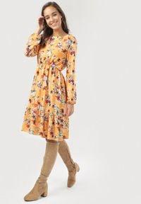 Born2be - Żółto-Bordowa Sukienka Amalinei. Kolor: żółty