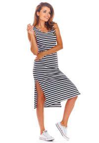 Infinite You - Czarna Bawełniana Dopasowana Sukienka z Rozporkami w Paski. Kolor: czarny. Materiał: bawełna. Wzór: paski