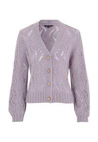 Fioletowy sweter Happy Holly krótki, z długim rękawem, z dekoltem w serek #1