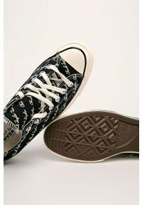 Czarne tenisówki Converse na obcasie, na średnim obcasie, na sznurówki, z cholewką