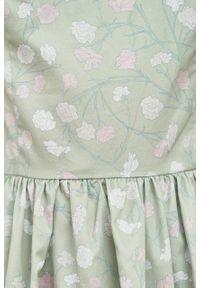 Marie Zélie - Sukienka Melania Estrilda zielona. Kolor: zielony. Materiał: bawełna, satyna, skóra, materiał