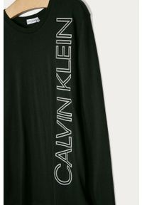 Czarna koszulka z długim rękawem Calvin Klein Jeans z nadrukiem, na co dzień