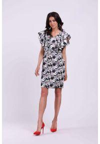 Sukienka wizytowa Nommo ołówkowa, elegancka, z falbankami