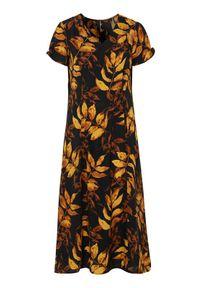 Żółta sukienka Cellbes z dekoltem w serek, elegancka