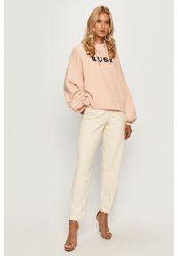 Pepe Jeans - Bluza bawełniana Greta. Typ kołnierza: kaptur. Kolor: różowy. Materiał: bawełna. Długość rękawa: długi rękaw. Długość: długie. Wzór: nadruk