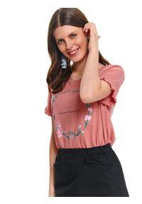 Różowy t-shirt TOP SECRET z nadrukiem, na wiosnę, z krótkim rękawem