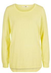 Żółty sweter bonprix długi, z długim rękawem