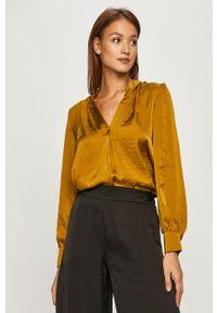 Żółta bluzka DKNY z długim rękawem, długa