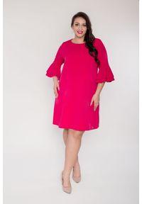 Różowa sukienka dla puszystych Moda Size Plus Iwanek elegancka, plus size, na lato