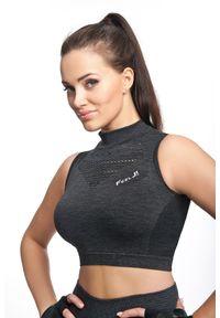 FJ! - Seamless Crop Top IRON. Materiał: dzianina, elastan, satyna, poliamid, guma. Rodzaj stanika: push-up. Wzór: aplikacja. Sport: fitness