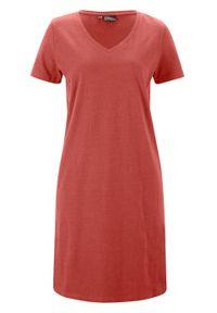Sukienka lniana z dekoltem w serek, Loose Fit bonprix rdzawopomarańczowy. Typ kołnierza: dekolt w serek. Kolor: brązowy. Materiał: len
