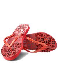 Big-Star - Japonki BIG STAR FF274A305 Czerwony. Okazja: na spacer, na plażę. Kolor: czerwony. Wzór: napisy, paski. Sezon: lato. Styl: wakacyjny