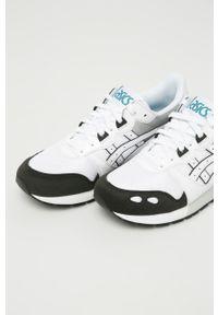 Białe sneakersy Asics Tiger z cholewką, na sznurówki, z okrągłym noskiem